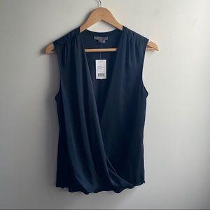 NWT Vince navy blue satin drape cashmere blouse
